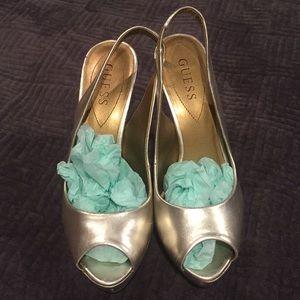 Gold Guess Platform Heels, Size 7.5